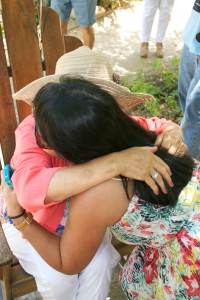 Hugs from my mom to my Sis-in-law for blessing my mom with her hat during the contest